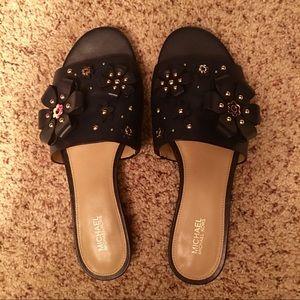 9f42c63fd87 MICHAEL Michael Kors Shoes - Michael Kors Tara floral embellished leather  slide